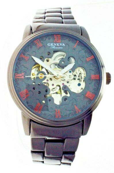 New Big Face Geneva Premiere Automatic Watch Skeleton Dial See Trough Back
