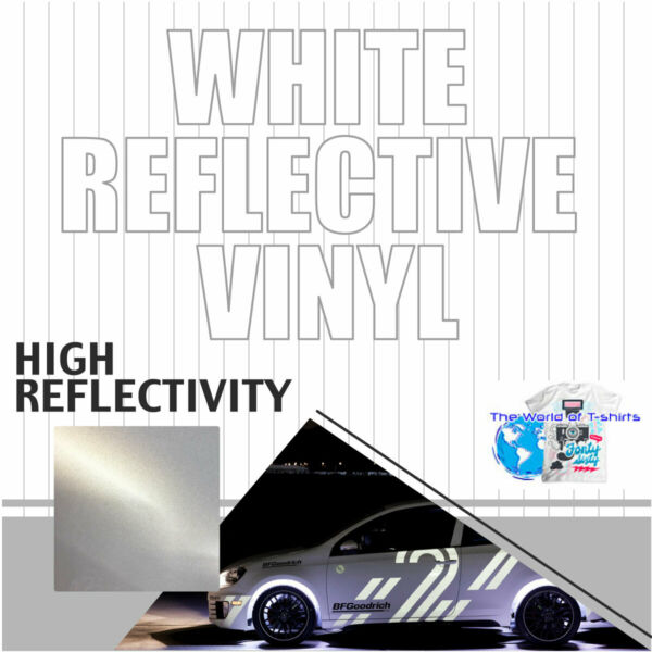 Reflective WHITE sign Vinyl Adhesive safety Plotter cutter 12