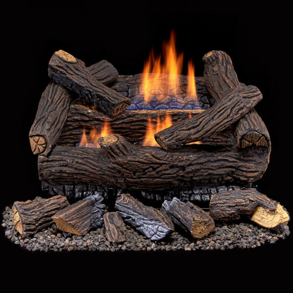 Duluth Forge Ventless Natural Gas Log Set 18 in. Stacked Red Oak Manual Control