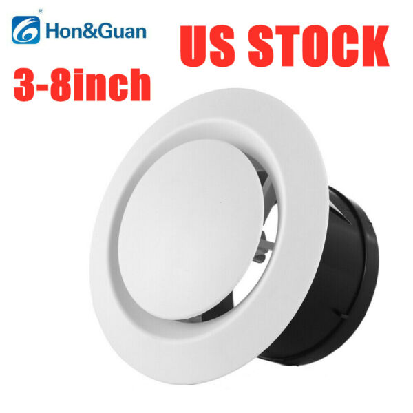 Hon&Guan 3-8inch ABS Adjustable Round Air Vent Exhaust Vent Duct Fan Outlet US