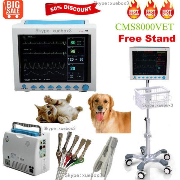 Vet Veterinary ICUCCU Vital Signs Patient monitor6parameters+Rolling Stand US