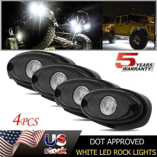White LED Rock Lights Pods Set For JEEP Off Road Truck Car ATV UTE Under Body x4