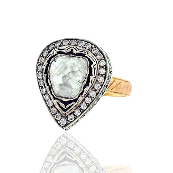 Diamond 14K Gold Sterling Silver Cocktail Ring Women Fashion Jewelry