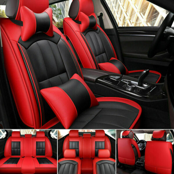 5Sit Universal Car Seat Covers PU Leather Front Rear Accessories Sit Cushion Set