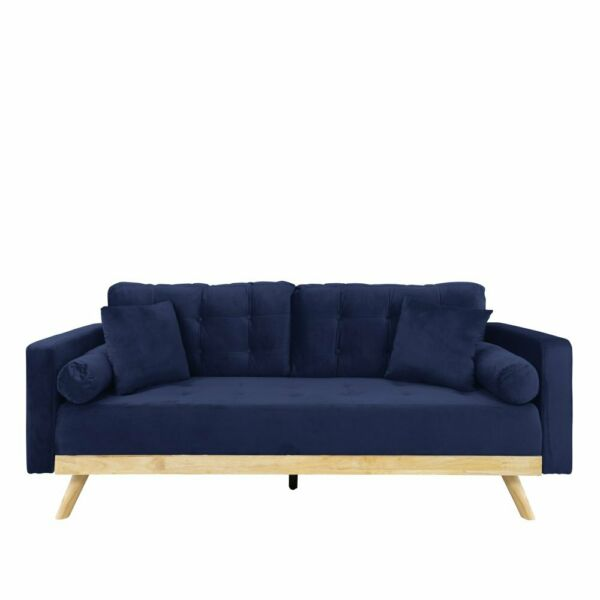 Navy Blue Modern Tufted Velvet Fabric Sofa with Wood Frame and Legs 4 Pillows $239.99