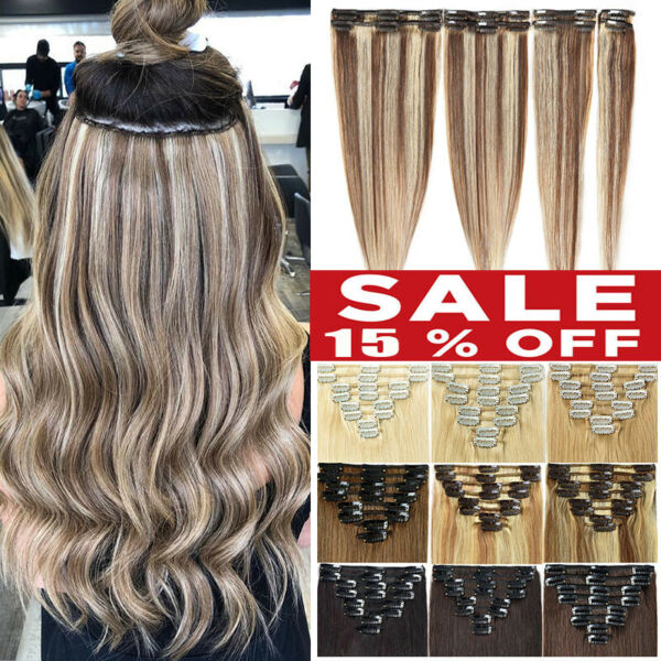 CLEARANCE Clip In 100% Real Remy Human Hair Extensions Full Head Highlight 8-24