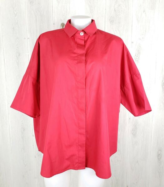 Planet Lauren G Cotton Button Down Blouse Red One Size Boxy Oversized Lagenlook
