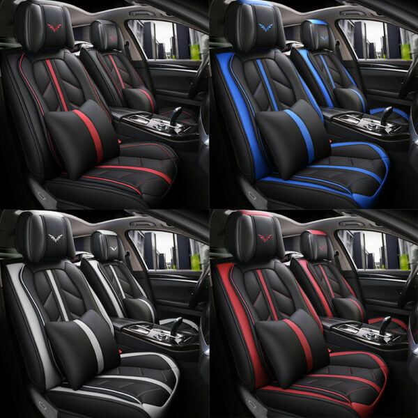 Deluxe Universal 5-Seats Car Seat Cover Front PU Leather & Rear Cushion Full Set $89.99