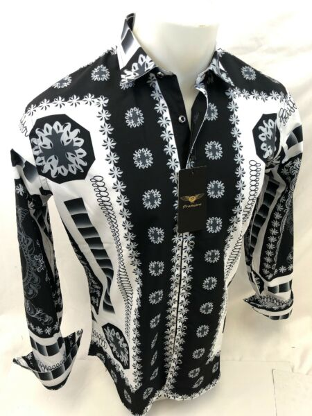 Mens PREMIERE Long Sleeve Button Down Dress Shirt WHITE BLACK LEAF DIAMOND 519