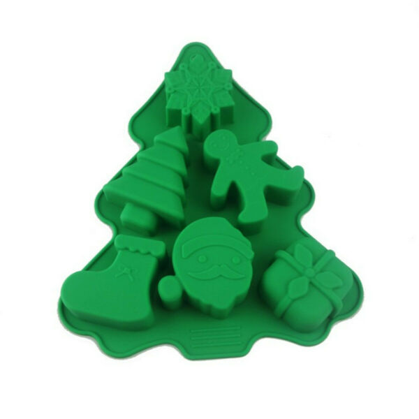6 Holes Green Christmas Tree Silicone Mold Fondant Chocolate Mould Baking Tools