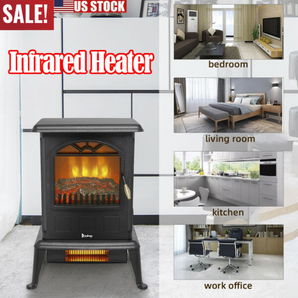 1500W Electric Fireplace Freestanding Infrared Heater Stove Realistic Flame