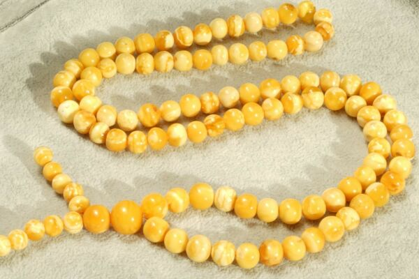 Antique natural Baltic amber Mala 108 beads round necklace bracelet 39 grams