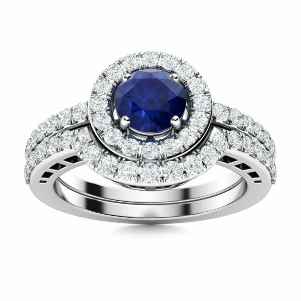 Natural Blue Sapphire and Diamond 14k White Gold Halo Bridal Engagement Ring Set