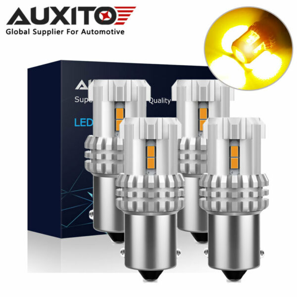 4x AUXITO 1156 7506 3020SMD LED Amber Yellow Rear Turn Signal Light Bulb 12V