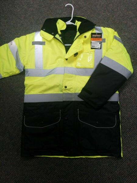 Class 3 *7-in-1 Waterproof High Visibility Jacket. S to 5x wvesthood hy-vis