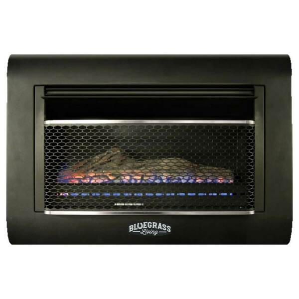 Bluegrass Living B30TD-BL Dual Fuel Vent Free Linear Wall Gas Fireplace With Log