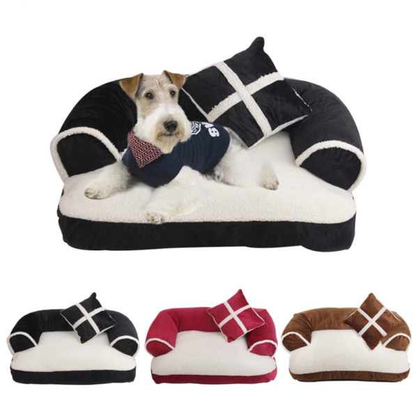 Cute Pet Dog Sofa Bed With Pillow Detachable Wash Soft Fleece Creative Puppy Bed $44.04