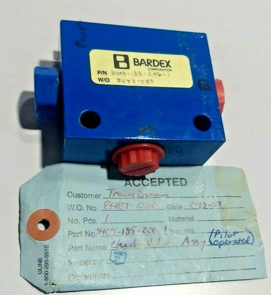 Bardex Check Valve Assembly Pilot Operated 3409 135 206 1