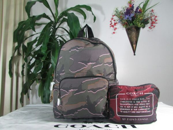 NWT Coach Wild Camo Packable Nylon Backpack F31450 Green or Burgundy $79.99