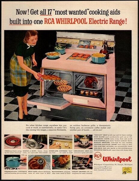 1957 RCA WHIRLPOOL Electric Range & Oven - Pink - Housewife - Retro VINTAGE AD