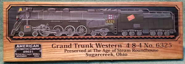ALCO GRAND TRUNK WESTERN 6325 AGE OF STEAM ROUNDHOUSE PLAQUE  $75.00