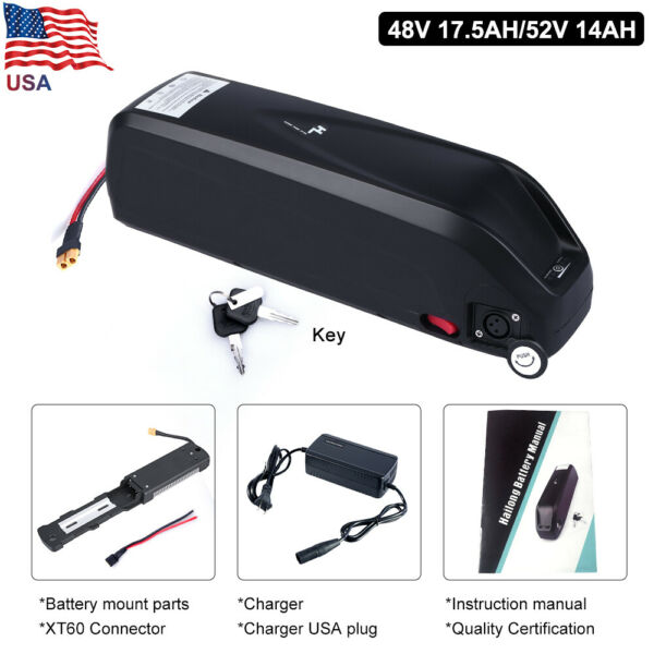36V 48V 17.5Ah 52V 14Ah Hailong Battery Samsung Cells For Electric Bike US Stock