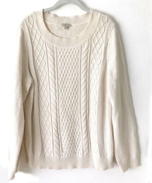 Talbots Womens Ivory Cable Knit Cotton Sweater Size XL