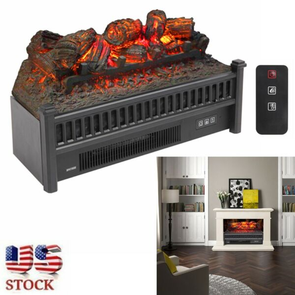 Electric Fireplace Logs LED Insert Heater Realistic Flame Home Decor Adjustable