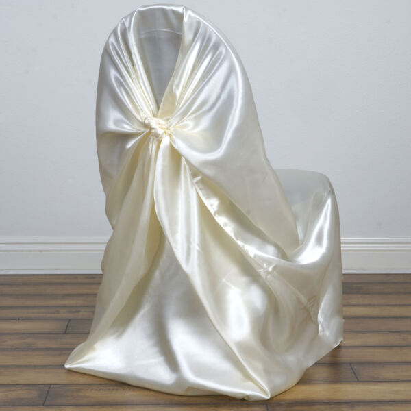 50 IVORY SATIN UNIVERSAL CHAIR COVERS for Wedding Reception Party Decorations