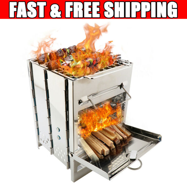 Outdoor Wood-Burning Steel Stove Fireplace Burner Heater Camping Portable Home