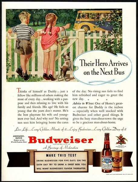 1940 BUDWEISER Beer Dad Bus Cute Dog Son Daughter Fence VINTAGE AD $9.74