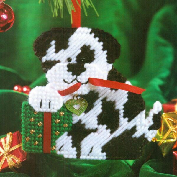 PUPPY PLAY DOG CHRISTMAS ORNAMENT PLASTIC CANVAS PATTERN INSTRUCTIONS $2.00