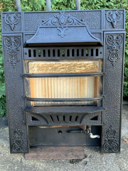 Victorian Cast Iron Fireplace Gas Grate Insert Antique Architecture
