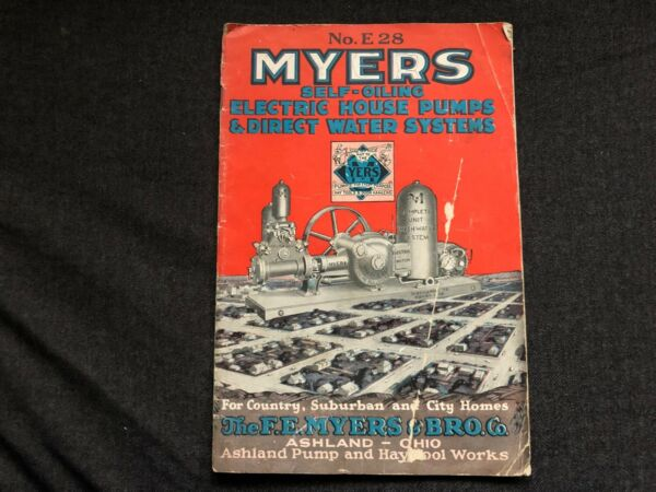 Vintage 1928 MYERS Self Oiling Electric House Pumps Direct Water Systems Catalog