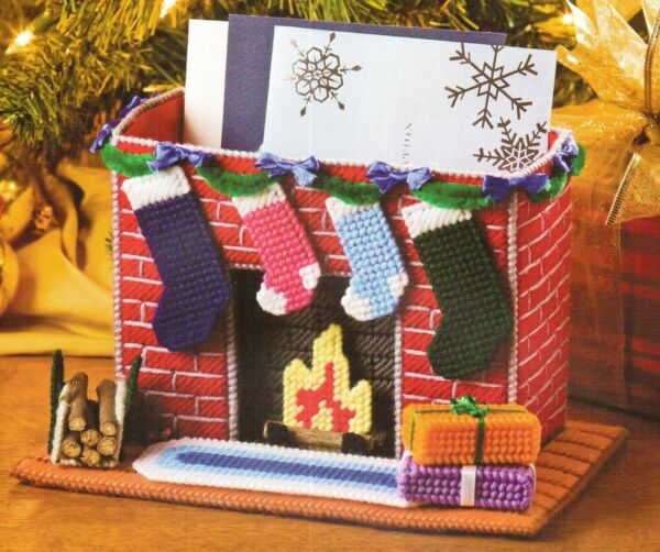 FIREPLACE CARD HOLDER CHRISTMAS PLASTIC CANVAS PATTERN INSTRUCTIONS