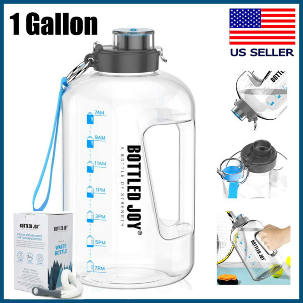 1 Gallon Water Bottle with Time Marker Big Jug for Gym Workout Sports Training