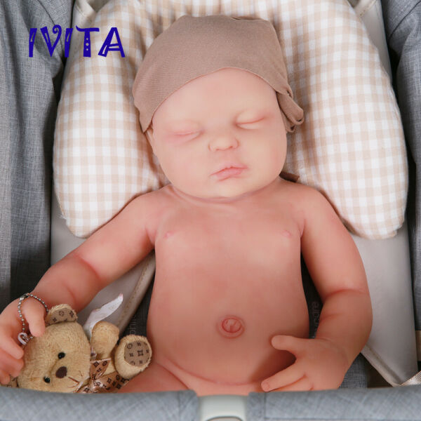 IVITA 18.5'' Soft Silicone Reborn Baby Eyes Closed Girl Doll Xmas Gift Toy 3700g