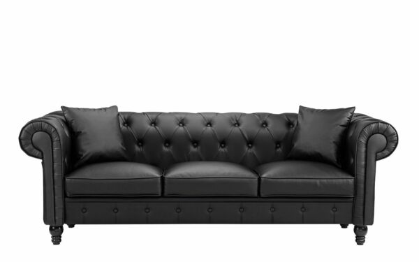 Black Living Room Couch 3 SeatBonded Leather Scroll Arm Chesterfield Sofa