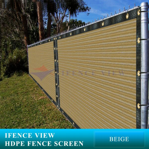 Ifenceview 11 FT Width Beige Fence Privacy Screen Mesh Awning Canopy Patio Top