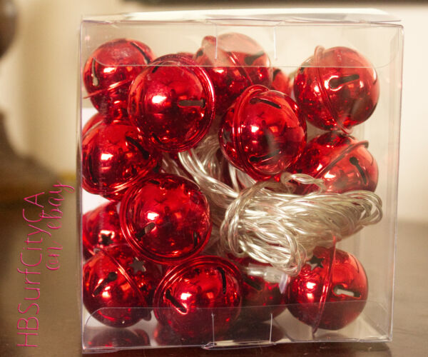 Red Jingle Bells LED Christmas Lights String of 20 onoff timer Battery Operated