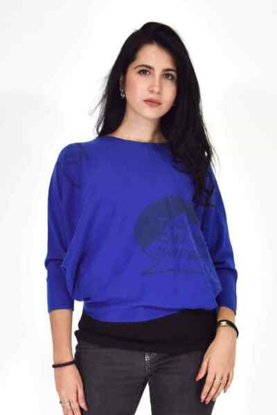 Iceberg Sweater Crew Neck Blue Cotton Wool Casual Size M Woman $23.76