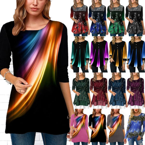 Plus Size Womens Christmas Long Sleeve Tunic T-Shirt Xmas Pullover Blouse Top