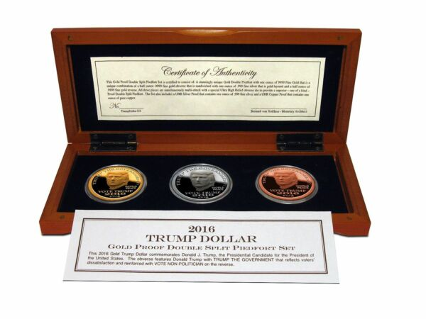 2016 and 2017 Trump Gold Silver & Copper 2 Proof 3-Coins Sets Wsame SN
