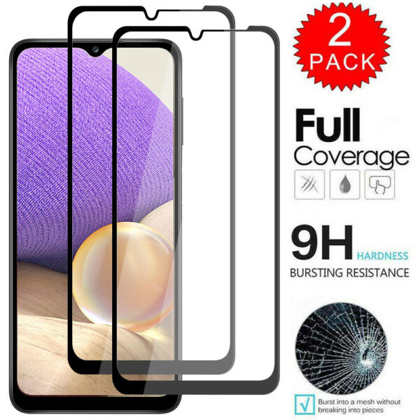 2-Pack Full Cover Tempered HD Screen Protector For Samsung Galaxy A10e A20 A50