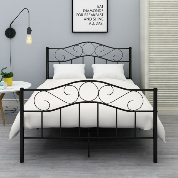 Queen Full Twin Size Bed Metal Bed Frame Platform Headboard Black/White
