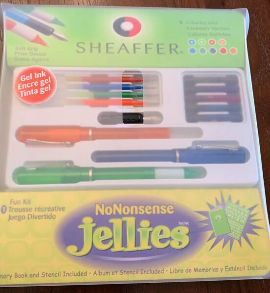 Sheaffer Pen Set Of 9 Colorful Inks Nononsense Jellies With Stencil And Memory