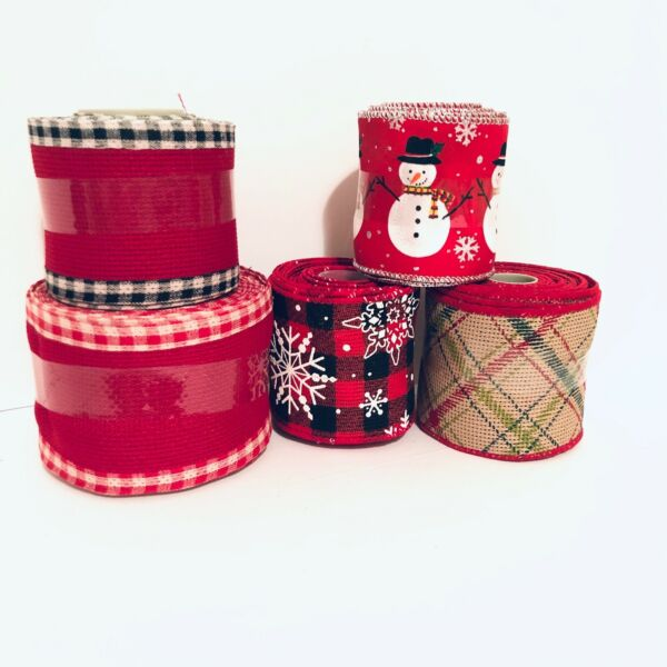 Celebrate It Christmas Wired Ribbon Red Burlap Plaid Snowman 2.5quot; Choose Yours
