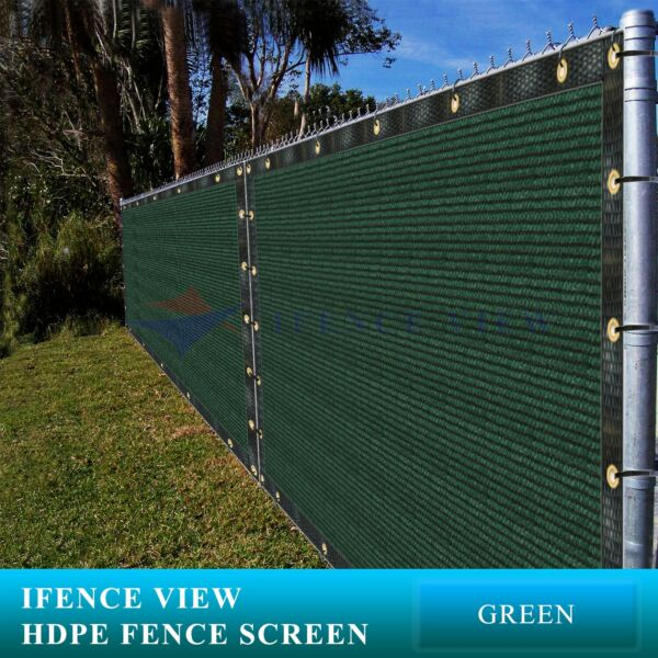 Ifenceview 12 FT Width Green Fence Privacy Screen Mesh Awning Canopy Patio Top
