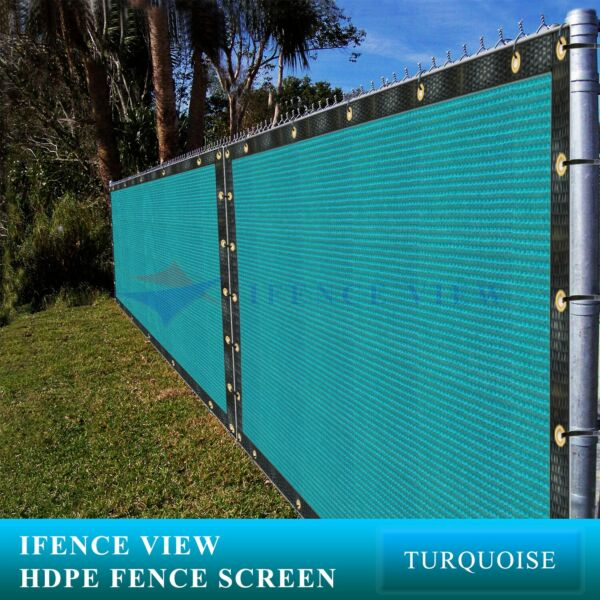 Ifenceview 12 FT Width Turquoise Green Fence Privacy Screen Awning Canopy Patio