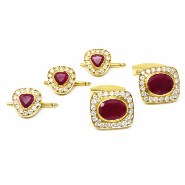 NYJEWEL French 18K Gold 14.6ctw Natural Ruby Diamond Cufflinks & Shirt Stud Set